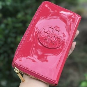 Tory Burch Charlie Zip Continental Wallet Red